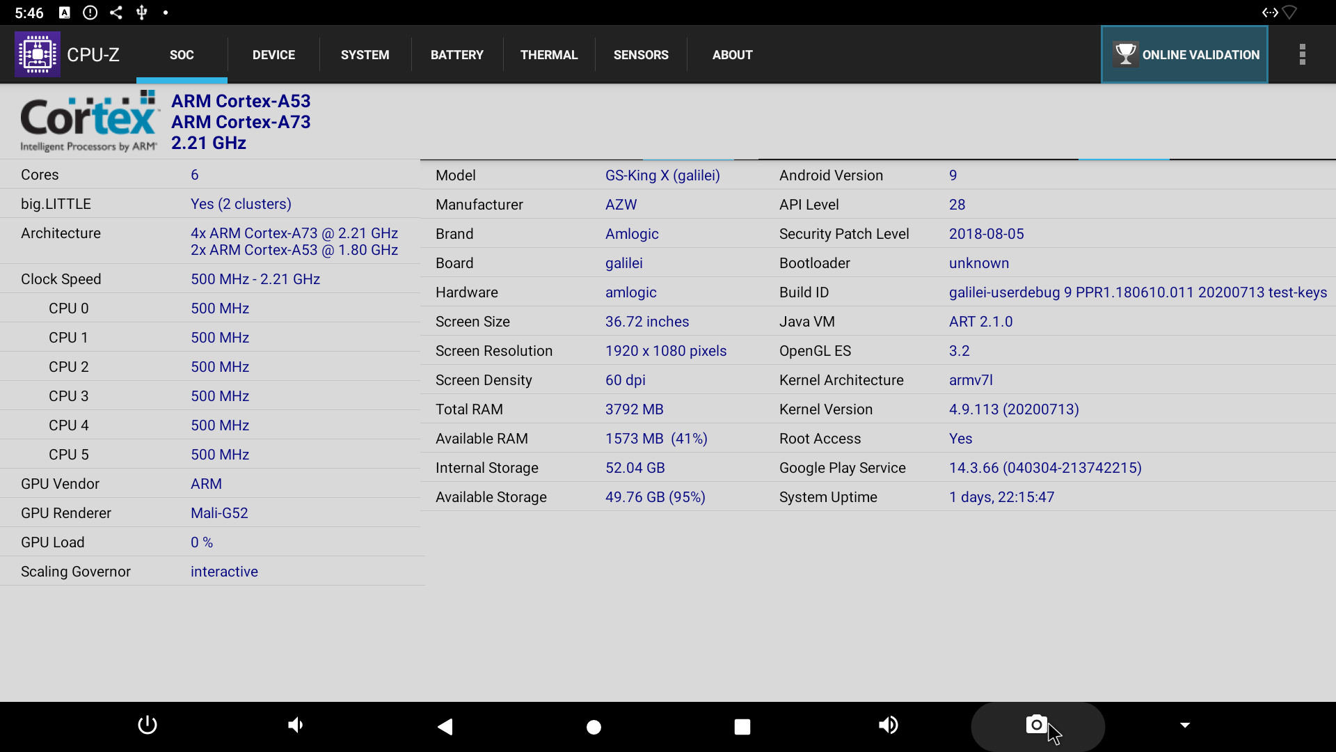 Beelink GS-King X CPU-Z