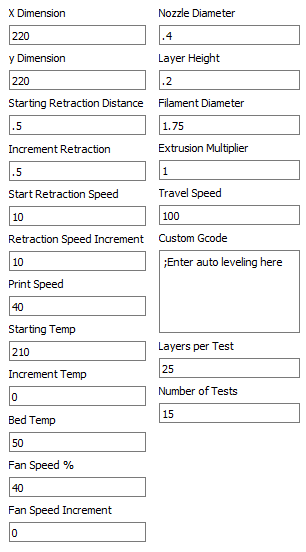 Calibration Generator Program Fields