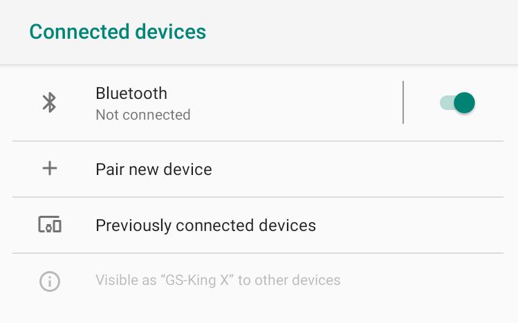 GS-King X Bluetooth Settings
