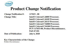 Gemini Lake Product Discontinuance