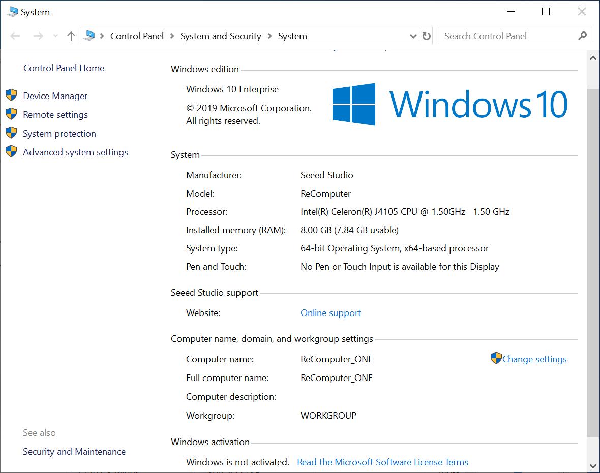ODYSSEY-X86J4105 Windows 10 Enterprise Info