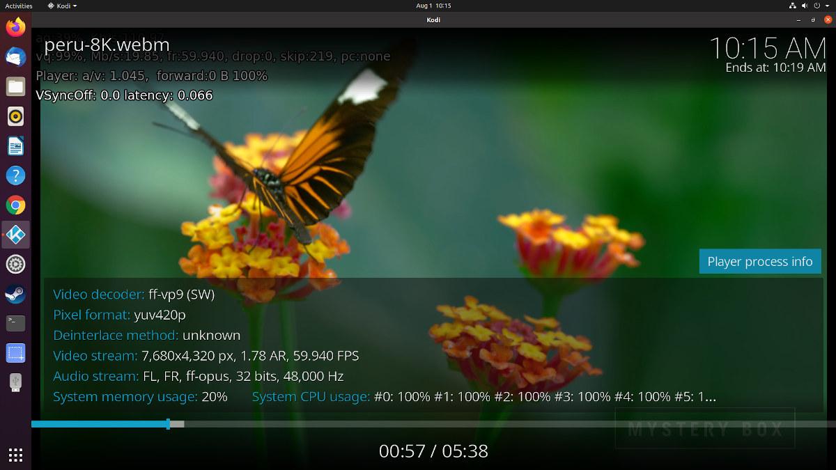 AMD Ryzen 5 ubuntu 20.04 kodi 8k