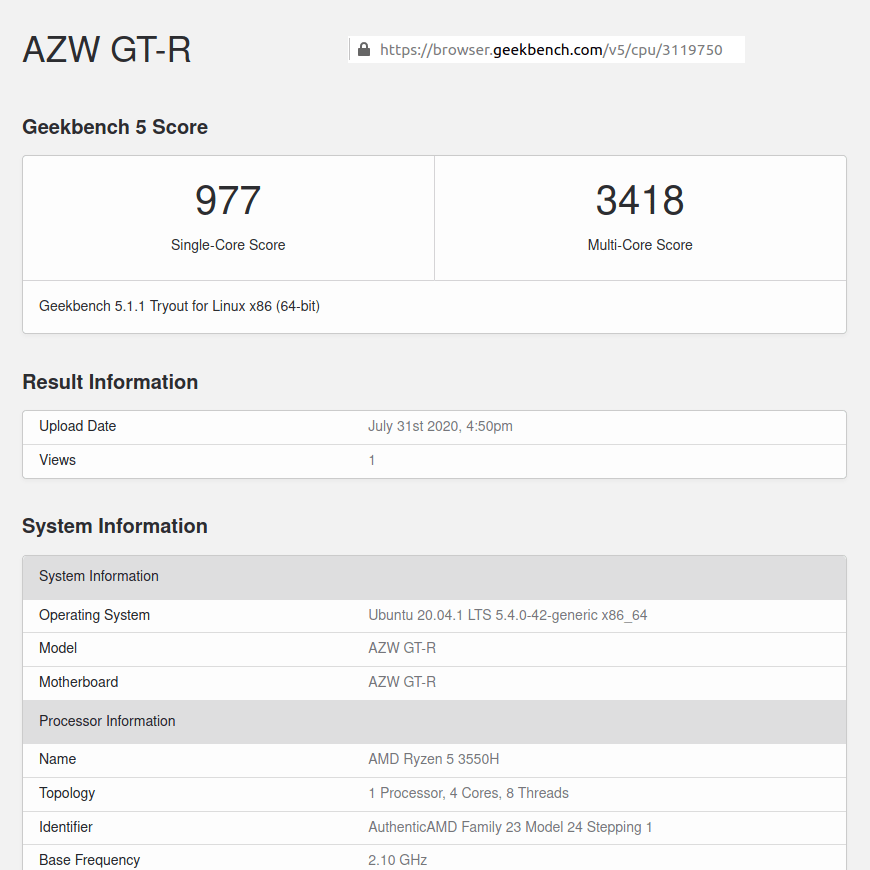 AZW GT-R ubuntu geekbench 5 cpu