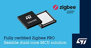 STMicroelectronics has added Zigbee® 3.0, based on Zigbee PRO protocol stack support to STM32WB55 wireless microcontrollers,