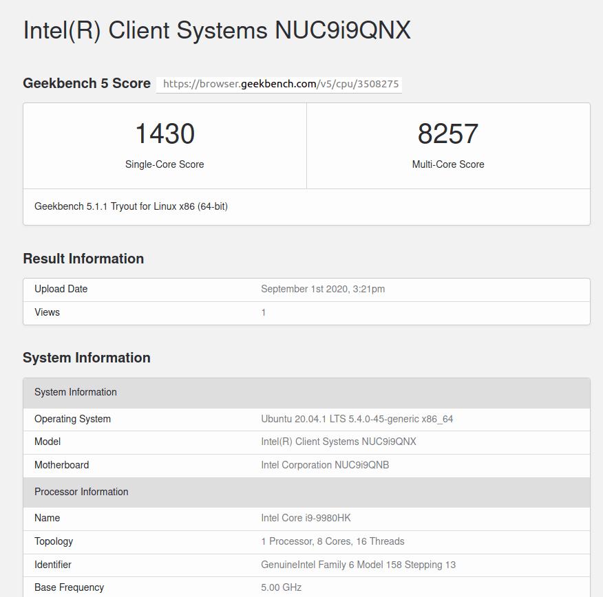 Intel NUC9 Geekbench 5 score