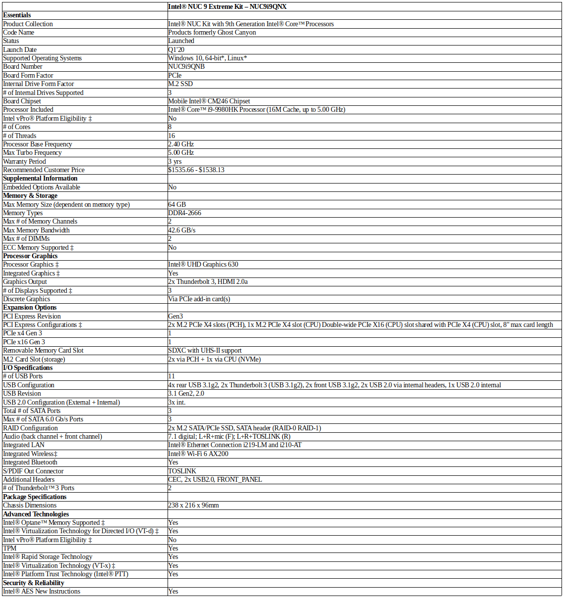 NUC9i9QNX specifications