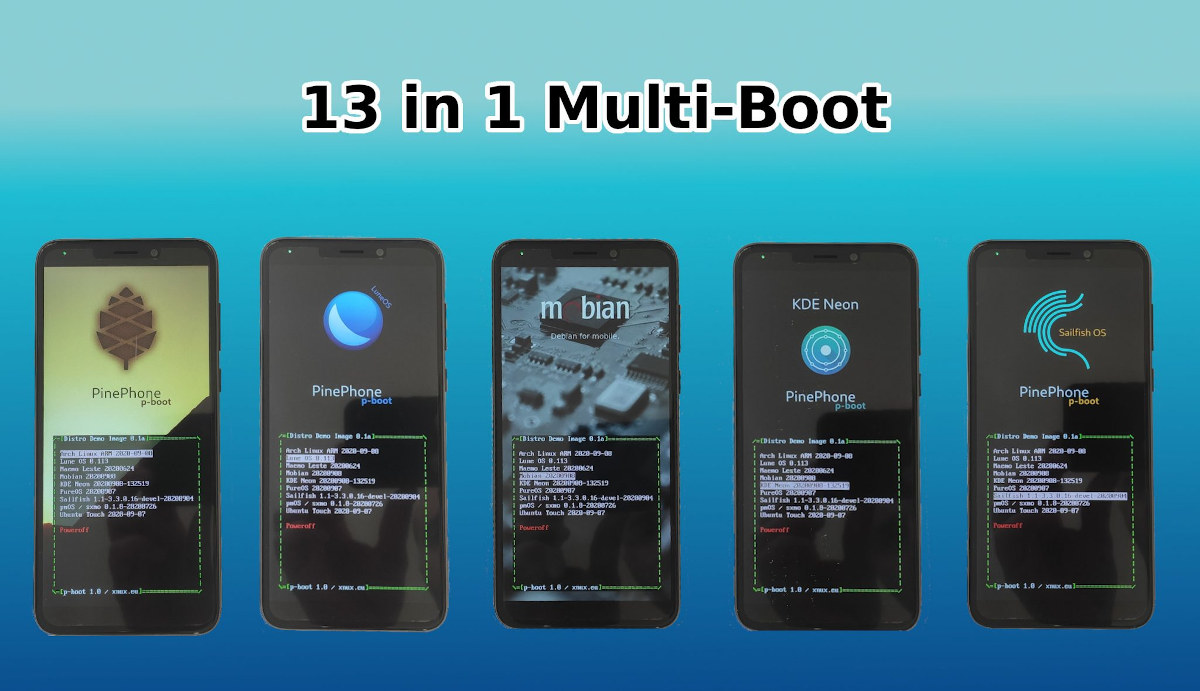 Pinephone Multiboot 13 Linux distributions