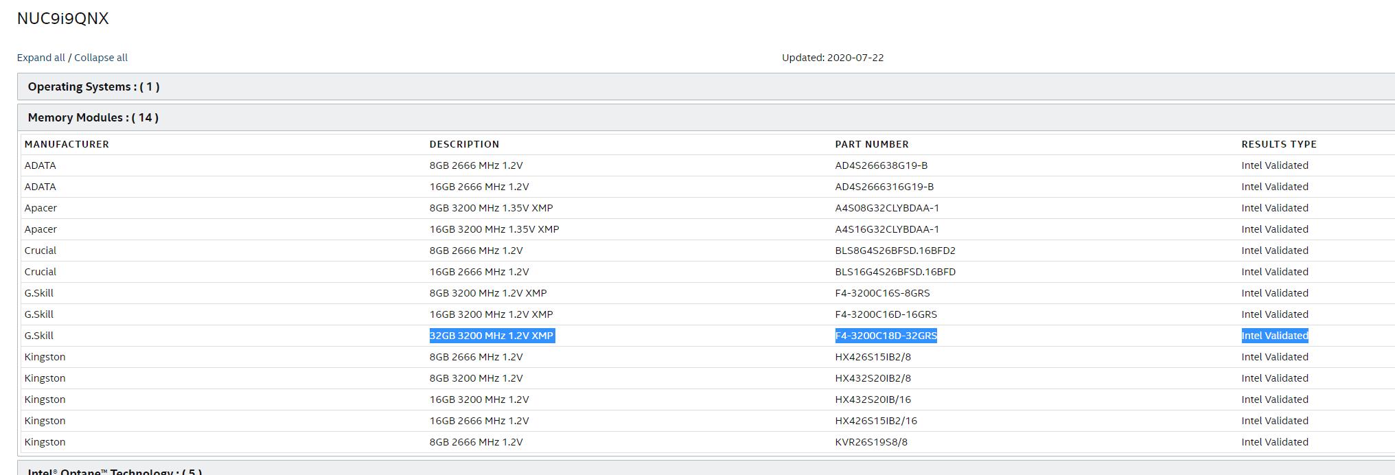 intel validated memory at 3200 MHz