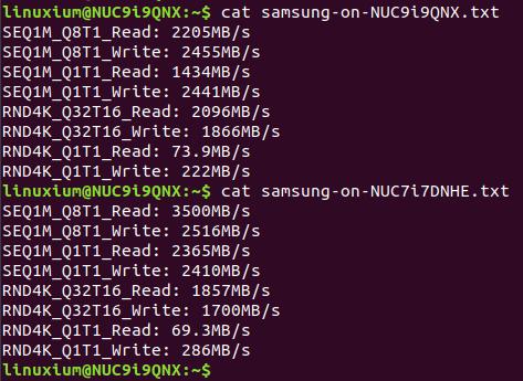 samsung SSD comparison in ubuntu