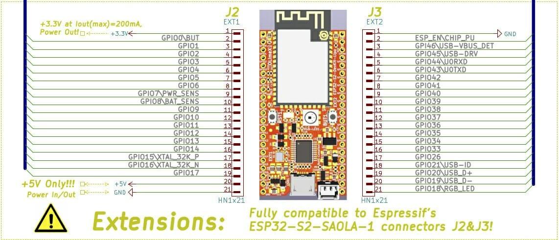 ESP32-S2-DevKit-LiPo Battery Board Pinout