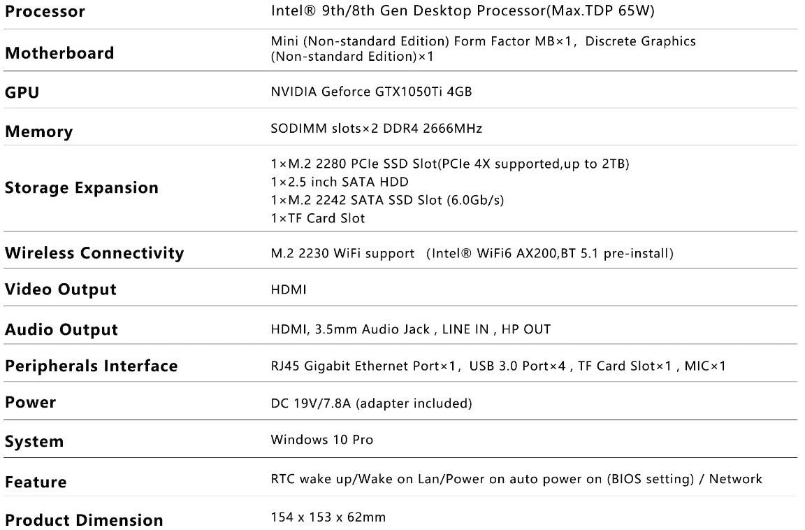 MINISFORUM EliteMini H31G Specifications