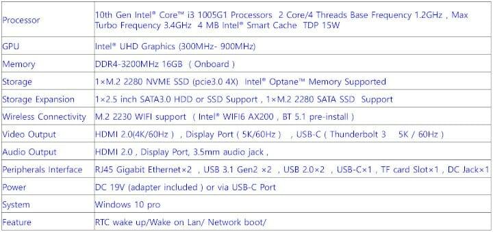 MINISFORUM X35G Specifications