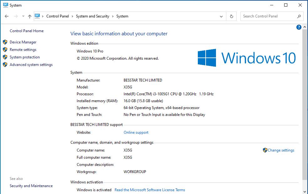 MINIXFORUM X35G windows info