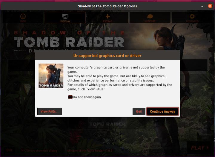 Tomb Raider ubuntu sottr unsupported graphics