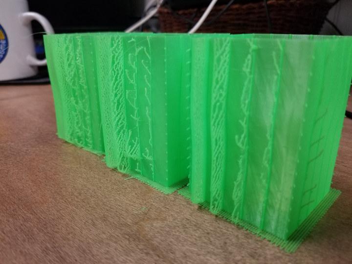 retraction-cube test 3D printer PTFE