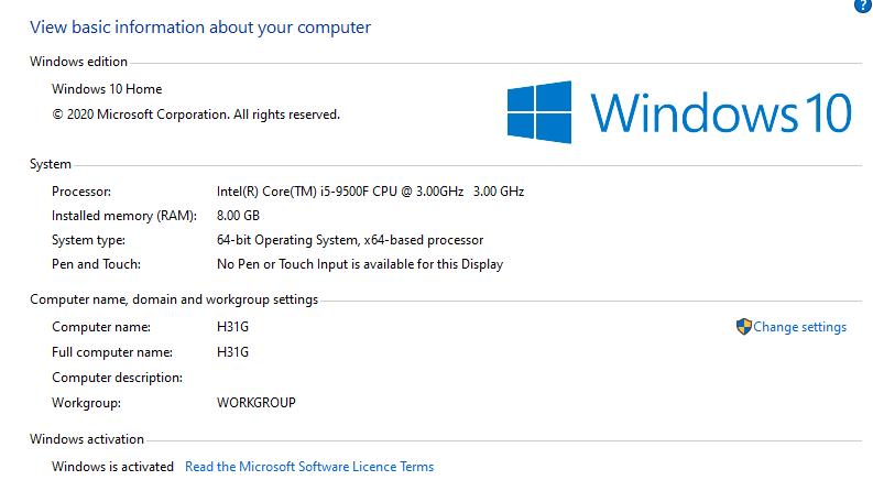windows 10 info H31G