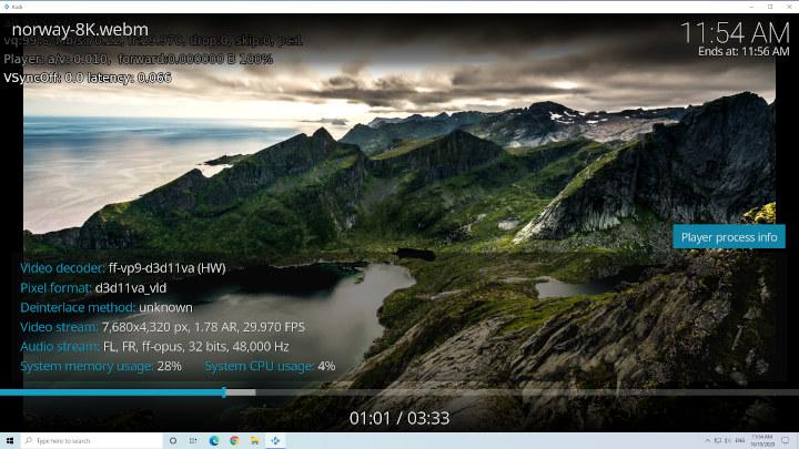 windows kodi 8k 30fps