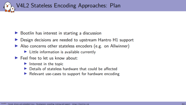 Hantro H1 hardware accelerated encoding Plan