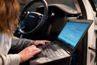 OBD-II diagnostics with laptop