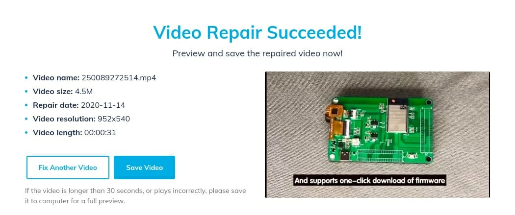 Online Video Repair Tool