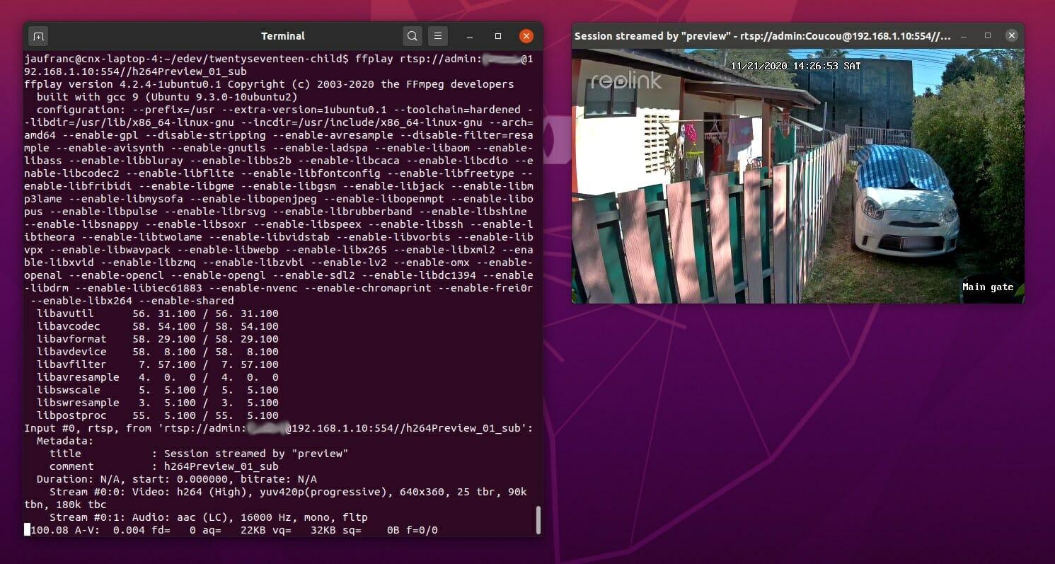 Reolink RLC-810A RTSP ffplay / ffmpeg