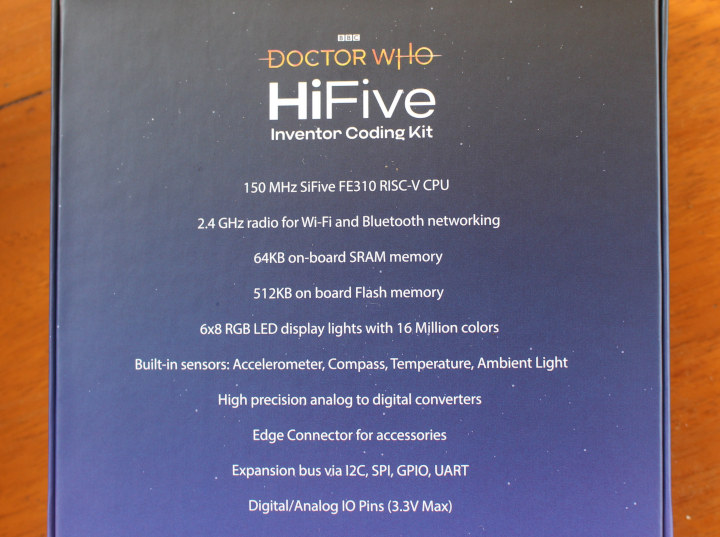 BBC Doctor Who HIFive Inventor Coding Kit specifications