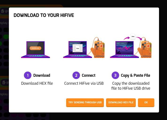Download Tynker.hex HiFive board