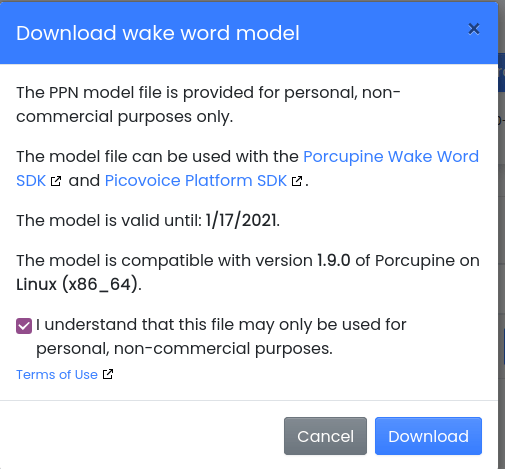 Download wake word model
