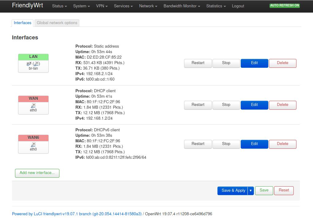 FriendlyWrt default configuration