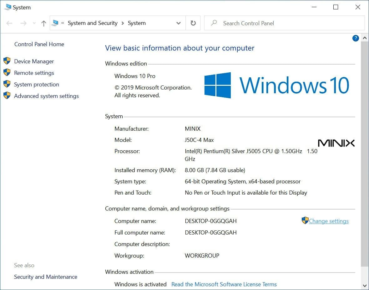 J50C-4 Max Windows 10 Pro