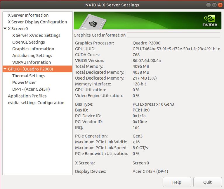 quadro p2000 ubuntu gpu info on embedded GPU computer