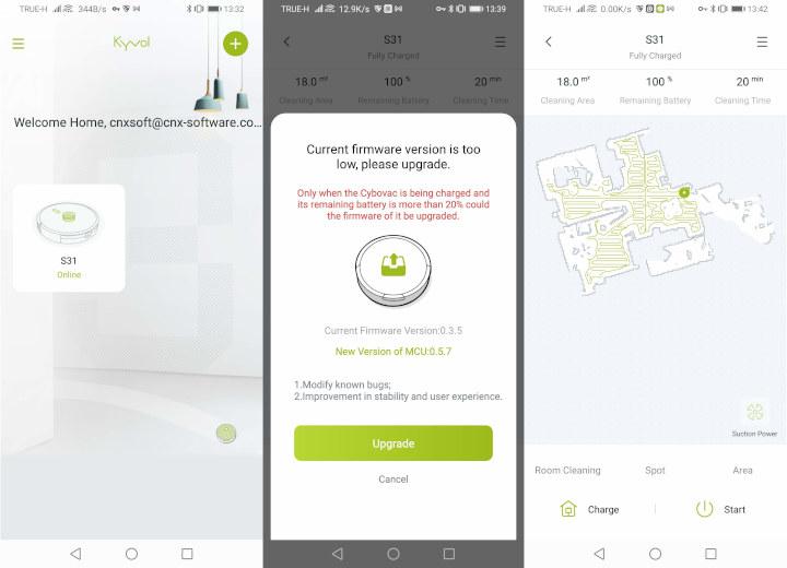 Kyvol S31 smart vacuum cleaner firmware update