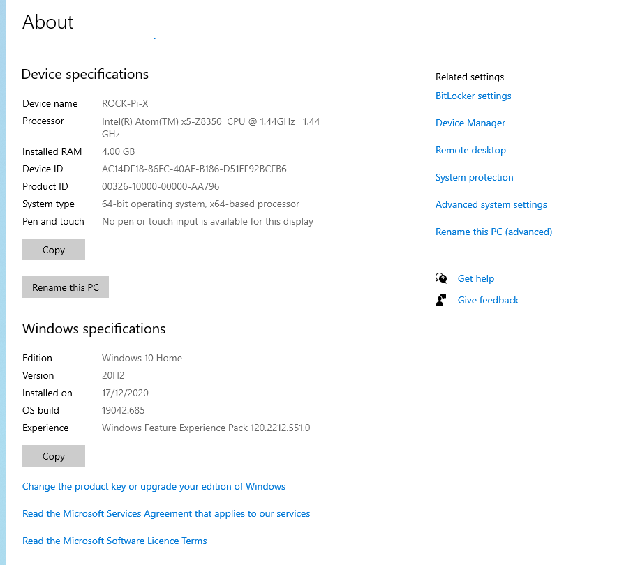 Rock Pi X windows 10 info