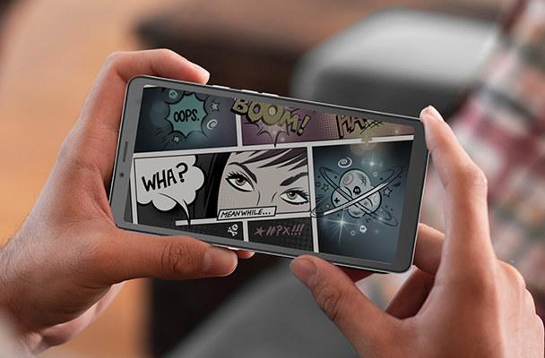 reading comics on smartphone