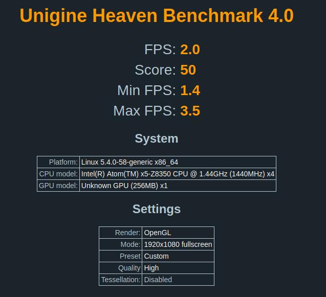 ubuntu unigine heaven benchmark