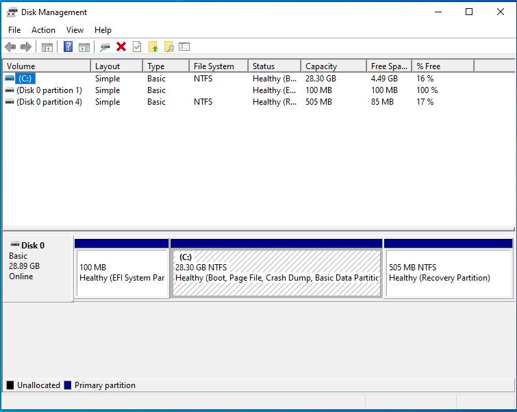 windows 32gb disk management