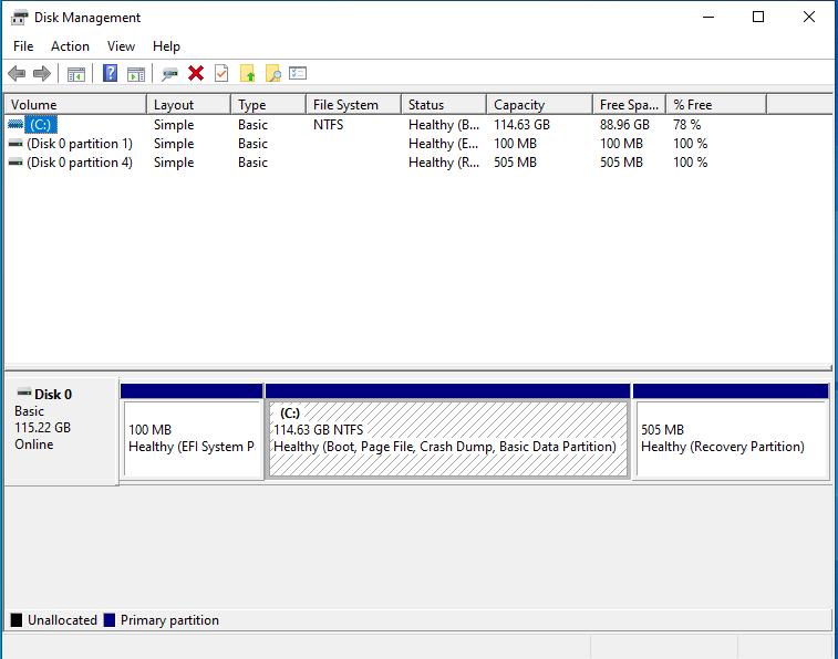 windows-disk-management-128-GB-eMMC-flash