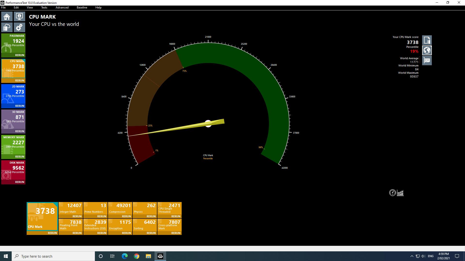 windows cpu passmark