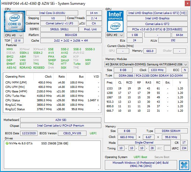 Beelink SEI Comet Lake Mini PC windows hwinfo