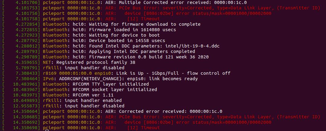 Beelink SEI ubuntu dmesg errors