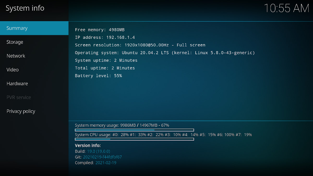 Kodi 19 System Info