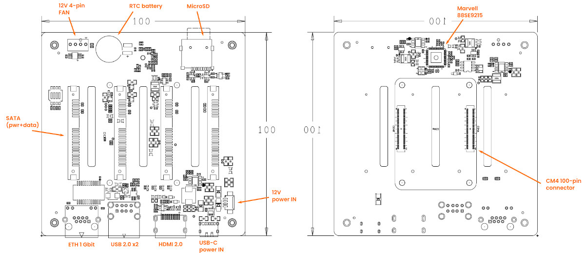 Raspberry Pi CM4 NAS Carrier Board Layout