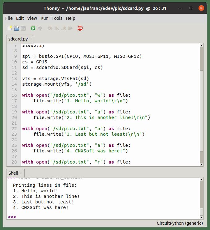 Raspberry Pi Pico SD Card-Programming CircuitPython
