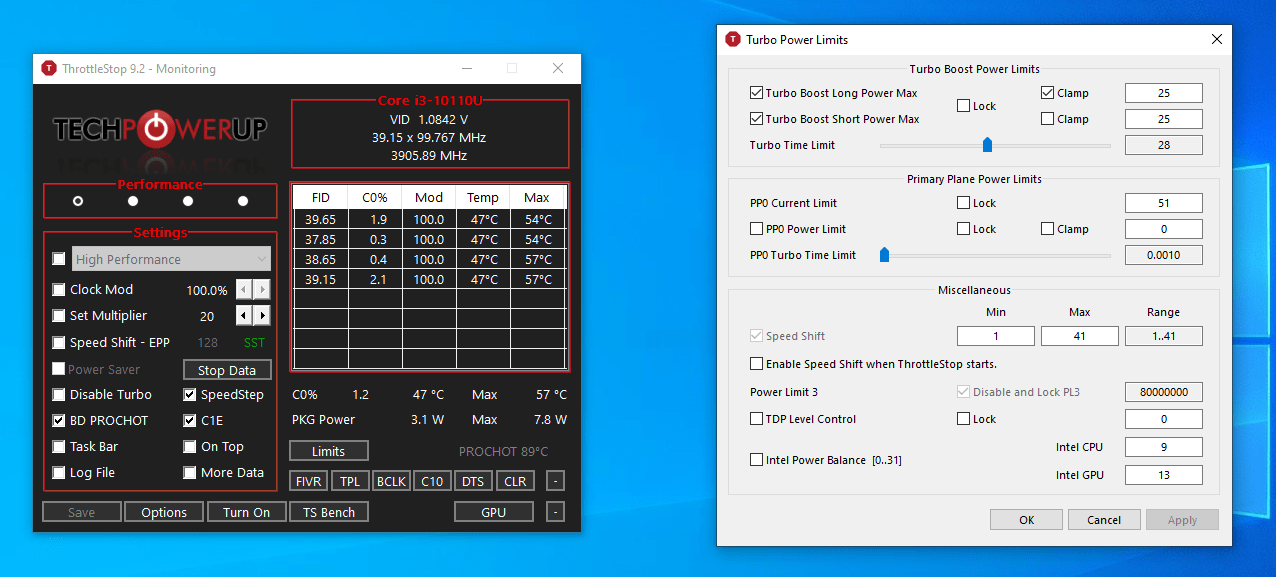 Windows 10 throttlestop power limits