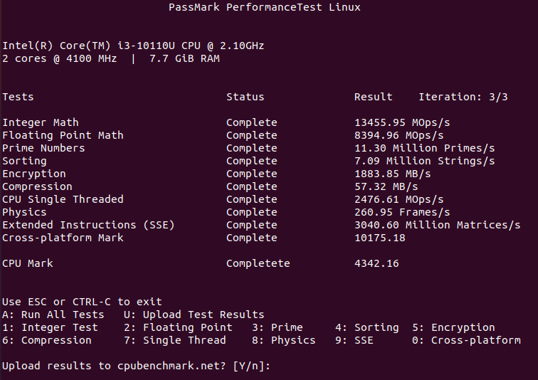 ubuntu cpu passmark performancetest linux