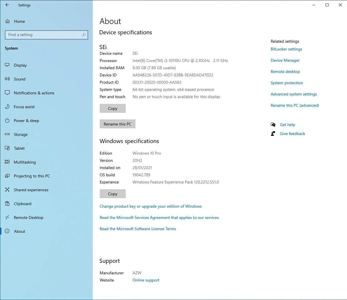 windows 10 info after update