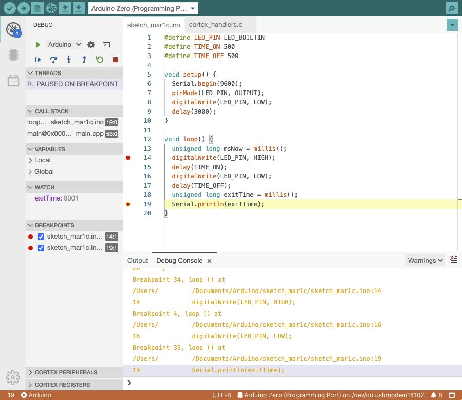 Arduino IDE 2.0 Debugger