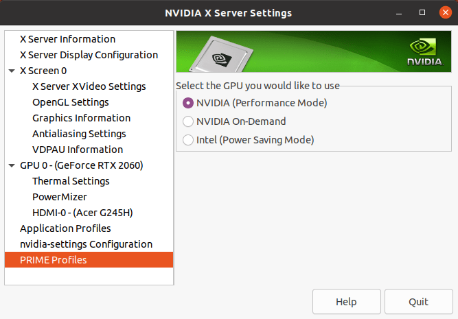 Intel NUC 11 Linux prime setting
