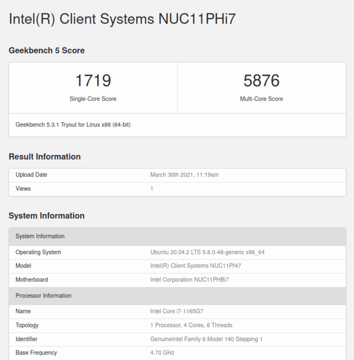 Intel NUC 11 linux geekbench 5 cpu