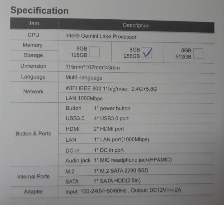 Beelink GKmini specification